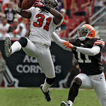 Tampa Bay Buccaneers cornerback E.J. Biggers (31) intercepts a fourth quarter pass intended for Cleveland Browns wide receiver Mohamed Massaquoi (11) during an NFL football game Sunday, Sept …
