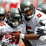 Tampa Bay Buccaneers wide receiver Micheal Spurlock (81) celebrates with teammates, including Tampa Bay Buccaneers' Josh Freeman (5) after catching what prove to be the game-winning touchdow …