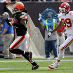 Cleveland Browns wide receiver Josh Cribbs out runs Kansas City Chiefs corner back Brandon Carr (39) on a 65-yards touchdown reception in the second quarter of an NFL football game Sunday, S …