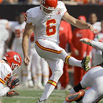 Kansas City Chiefs place kicker Ryan Succop (6) kicks the game winning field goal against the Cleveland Browns in the fourth quarter of the teams' 16-14 win in their NFL football game on Sun …