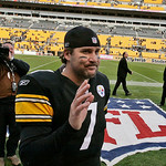 Pittsburgh Steelers quarterback Ben Roethlisberger waves to fans as he walks off the field after passing for 403 yards to lead the Steelers to a 27-14 NFL football game win over the Clevelan …