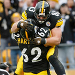 Pittsburgh Steelers  tight end Heath Miller, top, celebrates with center Justin Hartwig after making a touchdown catch against the Cleveland Browns in the second quarter of an NFLfootball ga …