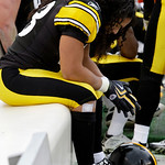 Pittsburgh Steelers safety Troy Polamalu sits on the bench after limping off the field after making a first-quarter interception against the Cleveland Browns during an NFL football game in P …