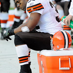 Cleveland Browns running back Jamal Lewis sits on the sidelines during the fourth quarter of a 27-14 loss to the Pittsburgh Steelers in an NFL football game in Pittsburgh, Sunday, Oct. 18, 2 …
