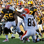 Cleveland Browns' Chansi Stuckey (83) can't hang on to the football after calling for a fair catch during the fourth quarter of an NFL football game against the Pittsburgh Steelers in Pittsb …