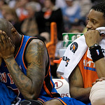 New York Knicks forward Al Harrington, left, and Tracy McGrady sit on the bench in the fourth quarter in an NBA basketball game Monday, March 1, 2010, in Cleveland. The Cavaliers won 124-93. …