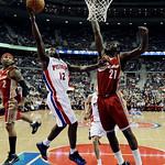 Detroit Pistons guard Will Bynum (12) drives against Cleveland Cavaliers center J.J. Hickson (21) in the first half of an NBA basketball game in Auburn Hills, Mich., Tuesday, March 16, 2010. …