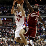 Detroit Pistons forward Tayshaun Prince shoots as Cleveland Cavaliers forward LeBron James defends in the third quarter of an NBA basketball game in Auburn Hills, Mich., Tuesday, March 16, 2 …