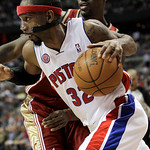Detroit Pistons guard Richard Hamilton drives past Cleveland Cavaliers defender Jawad Williams in the second half of an NBA basketball game in Auburn Hills, Mich., Tuesday, March 16, 2010. C …