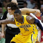 Indiana Pacers' Roy Hibbert (55) fights off Cleveland Cavaliers' Anderson Varejao, from Brazil, in the fourth quarter of an NBA basketball game Wednesday, March 17, 2010, in Cleveland. Hibbe …