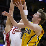 Indiana Pacers' Troy Murphy (3) shoots against Cleveland Cavaliers' Anthony Parker in the third quarter of an NBA basketball game Wednesday, March 17, 2010, in Cleveland. The Cavaliers defea …