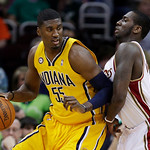 Indiana Pacers' Roy Hibbert (55) backs in on Cleveland Cavaliers' J.J. Hickson in the first quarter of an NBA basketball game Wednesday, March 17, 2010, in Cleveland. (AP Photo/Mark Duncan)