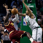 Boston Celtics center Rasheed Wallace (30) defends against a drive by Cleveland Cavaliers forward J.J. Hickson during the second half of Game 4 in a second-round NBA basketball playoff serie …