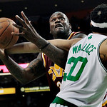 Cleveland Cavaliers center Shaquille O'Neal is fouled by Boston Celtics center Rasheed Wallace (30) as he attempts to shoot during the first quarter of Game 4 in a second-round NBA basketbal …