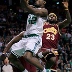 Boston Celtics guard Tony Allen, left, drives past Cleveland Cavaliers forward LeBron James during the first half of Game 4 in a second-round NBA basketball playoff series, Sunday, May 9, 20 …