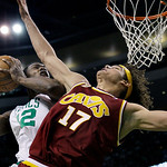Boston Celtics guard Tony Allen (42) goes to the basket against Cleveland Cavaliers forward Anderson Varejao (17) during the second half of Game 4 in a second-round NBA basketball playoff se …