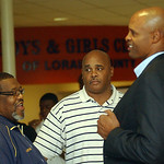 Admiral King basketball coach Al Stacey, left, and Colin Irish, talk with former NBA and Ohio State player Clark Kellogg at a Boys and Girls Club fundraiser in Elyria on Oct. 15.   Steve Man …