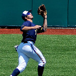 Kent State left fielder Troy Summers catches a pop fly hit deep into the outfield. KRISTIN BAUER   CHRONICLE