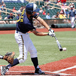 Kent State's Justin Wagler connects for a short ground ball hit against Akron. ANNA NORRIS/CHRONICLE