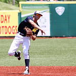 Kent State second baseman Justin Wagler makes the throw to first to turn two out against Akron. ANNA NORRIS/CHRONICLE