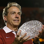 Alabama head coach Nick Saban holds The Coaches Trophy after the BCS National Championship college football game against Notre Dame Monday, Jan. 7, 2013, in Miami. Alabama won 42-14. (AP Pho …