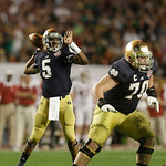 Notre Dame quarterback Everett Golson (5) works as Notre Dame offensive tackle Zack Martin (70) blocks against Alabama during the second half of the BCS National Championship college footbal …