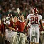 Alabama head coach Nick Saban reacts a play against Notre Dame during the second half of the BCS National Championship college football game Monday, Jan. 7, 2013, in Miami. (AP Photo/David J …