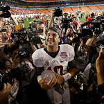 Alabama's AJ McCarron holds The Coaches' Trophy after the BCS National Championship college football game against Notre Dame Monday, Jan. 7, 2013, in Miami. Alabama won 42-14. (AP Photo/Davi …
