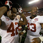 Alabama 's Eddie Lacy (42) and Kevin Norwood (83) celebrate after the BCS National Championship college football game against Notre Dame Monday, Jan. 7, 2013, in Miami. Alabama won 42-14. (A …