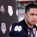 Notre Dame linebacker Manti Te'o answers a question during Media Day for the BCS National Championship college football game Saturday, Jan. 5, 2013, in Miami. Notre Dame faces Alabama in Mon …