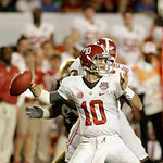Alabama quarterback AJ McCarron (10) works against Notre Dame during the first half of the BCS National Championship college football game Monday, Jan. 7, 2013, in Miami. (AP Photo/Chris O'M …