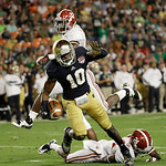 Notre Dame wide receiver DaVaris Daniels (10) makes a catch against Alabama during the second half of the BCS National Championship college football game Monday, Jan. 7, 2013, in Miami. (AP  …