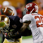 Alabama's Dee Milliner (28) breaks up a pass intended for Notre Dame's DaVaris Daniels during the first half of the BCS National Championship college football game Monday, Jan. 7, 2013, in M …