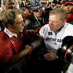 Alabama head coach Nick Saban shakes hands with Notre Dame head coach Brian Kelly after the BCS National Championship college football game Monday, Jan. 7, 2013, in Miami. Alabama won 42-14. …