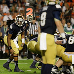 Notre Dame quarterback Everett Golson (5) works against Alabama during the first half of the BCS National Championship college football game Monday, Jan. 7, 2013, in Miami. (AP Photo/David J …