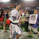Alabama's AJ McCarron celebrates after the BCS National Championship college football game against Notre Dame Monday, Jan. 7, 2013, in Miami. Alabama won 42-14. (AP Photo/Chris O'Meara)
