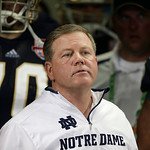 Notre Dame head coach Brian Kelly watches play against Alabama during the second half of the BCS National Championship college football game Monday, Jan. 7, 2013, in Miami. (AP Photo/Chris O …