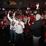 Alabama fans react as they watch a television broadcast of the BCS National Championship college football game against Notre Dame, Monday, Jan. 7, 2013, at Houndstooth Sports Bar in Tuscaloo …