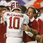 Alabama head coach Nick Saban hugs quarterback AJ McCarron in the final seconds of  the BCS National Championship college football game against Notre Dame Monday, Jan. 7, 2013, in Miami. Ala …