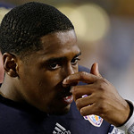 Notre Dame quarterback Everett Golson is seen on the bench near the end of the BCS National Championship college football game Monday, Jan. 7, 2013, in Miami. Alabama won 42-14. (AP Photo/Ch …