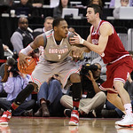 Ohio State's Deshaun Thomas, left, posts up against Indiana's Will Sheehy during the second half of an NCAA college basketball game on Sunday, Feb. 10, 2013, in Columbus, Ohio. Indiana defea …
