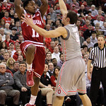 Indiana's Kevin Ferrell, left, passes the ball as Ohio State's Aaron Craft defends during the second half of an NCAA college basketball game on Sunday, Feb. 10, 2013, in Columbus, Ohio. Indi …
