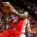 Ohio State's Evan Ravenel (30) has his shot blocked by Indiana's Will Sheehey during the first half of an NCAA college basketball game, Tuesday, March 5, 2013, in Bloomington, Ind. (AP Photo …