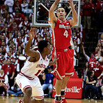 Ohio State's Aaron Craft (4) makes a pass while being defended by Indiana's Yogi Ferrell during the first half of an NCAA college basketball game, Tuesday, March 5, 2013, in Bloomington, Ind …