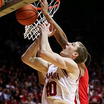 Indiana's Cody Zeller (40) goes up to grab a rebound during the first half of an NCAA college basketball game against Ohio State, Tuesday, March 5, 2013, in Bloomington, Ind. (AP Photo/Darro …