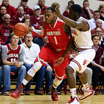 Ohio State's Deshaun Thomas (1) drives to the basket against Indiana's Victor Oladipo (4) during the first half of an NCAA college basketball game, Tuesday, March 5, 2013, in Bloomington, In …