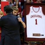 Indiana head coach Tom Crean hugs senior Jordan Hulls after Crean introduced Hulls on senior night following an NCAA college basketball game against Ohio State Wednesday, March 6, 2013, in B …