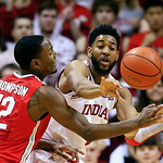 Indiana's Christian Watford, right, makes a pass against Ohio State's Sam Thompson during the first half of an NCAA college basketball game, Tuesday, March 5, 2013, in Bloomington, Ind. (AP  …