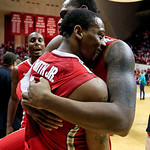 Ohio State's Deshaun Thomas (1) celebrates with Lenzelle Smith Jr., (32) after their 67-58 win over Indiana in an NCAA college basketball game, Tuesday, March 5, 2013, in Bloomington, Ind. ( …