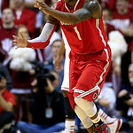 Ohio State's Deshaun Thomas reacts after hitting a shot during the second half of an NCAA college basketball game against Indiana, Tuesday, March 5, 2013, in Bloomington, Ind. Ohio State won …